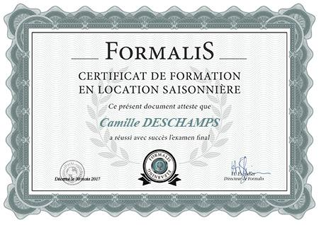 certificat de formation en location saisonnière