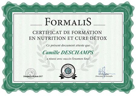 certificat de formation en nutrition
