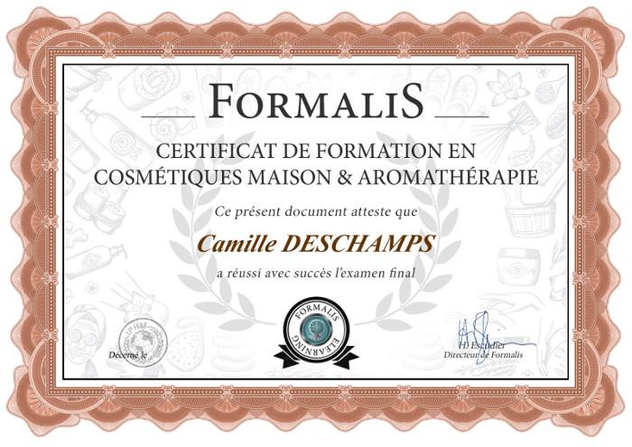 certificat formation cosmétiques maison & aromathérapie